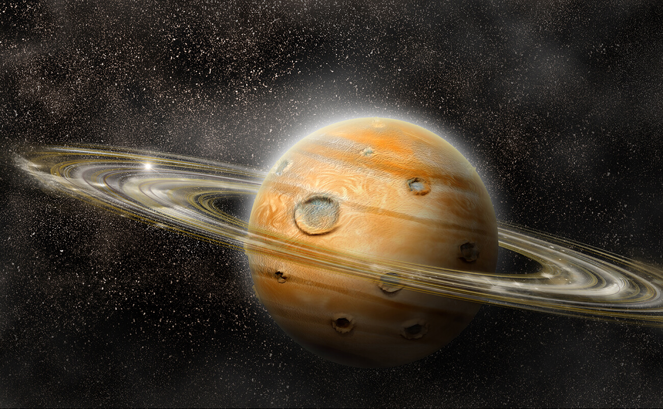Planet in space with numerous prominent ring system