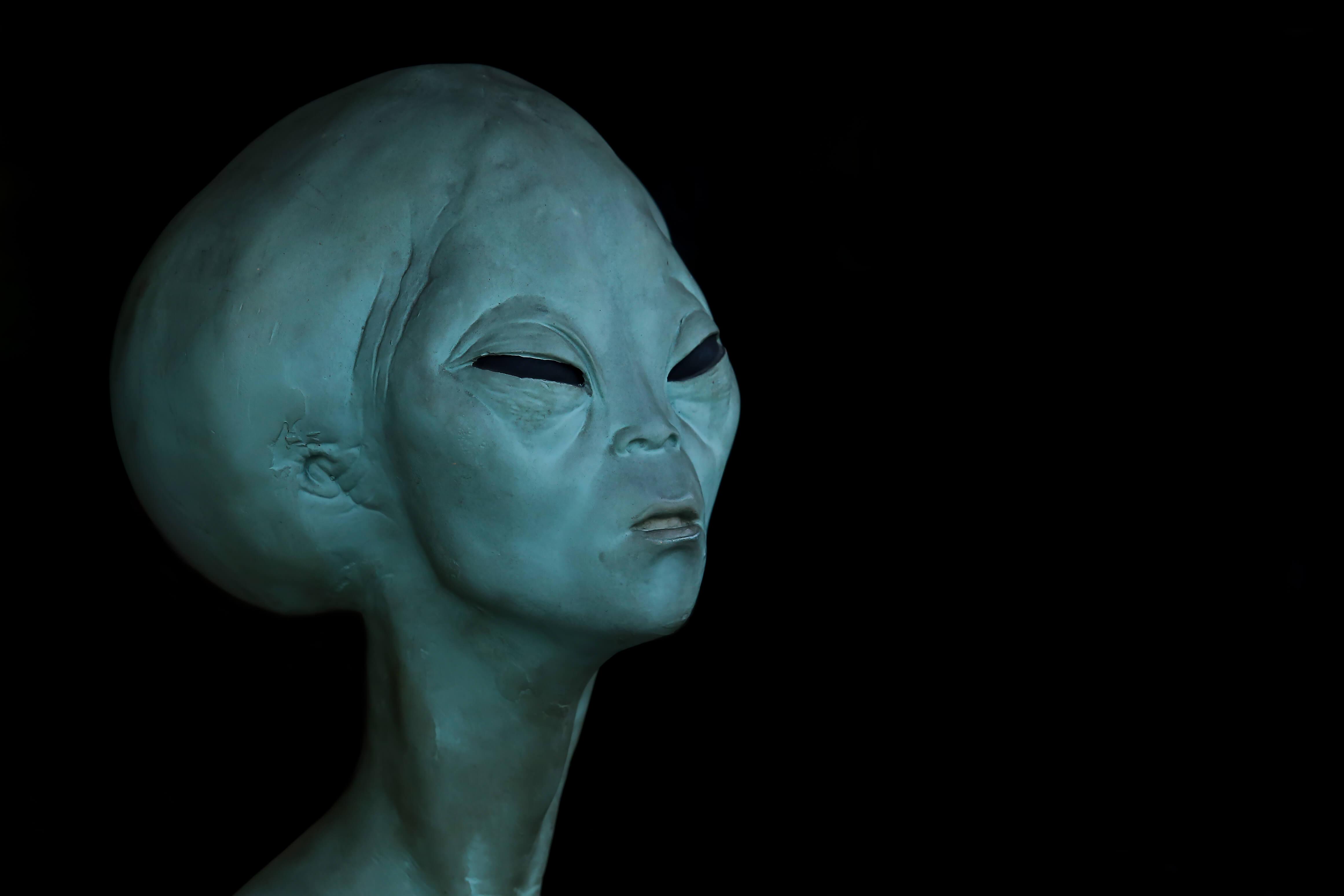 Portrait of an alien in dark background.